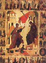 Благовещение с акафистом. 190x92. Первая половина XVI века. Дерево, яичная темпера